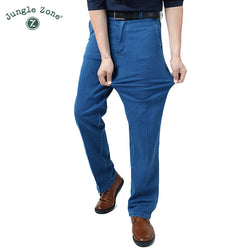 Man Middle-aged Jeans Middle Waist Loose Long Pants Male Solid Straight Jeans