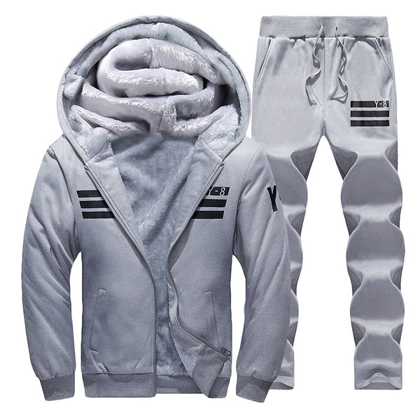Tracksuits Men's Sets Thicken Fleece