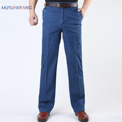 Men's Jeans Middle-aged Jeans Man Casual Large Size Men Denim Jeans Middle Waist Straight