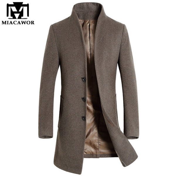 Wool Trench Coat Long Slim Fit