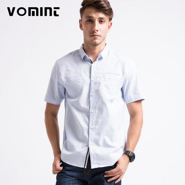 Short Sleeved Cotton Shirt Single Pocket