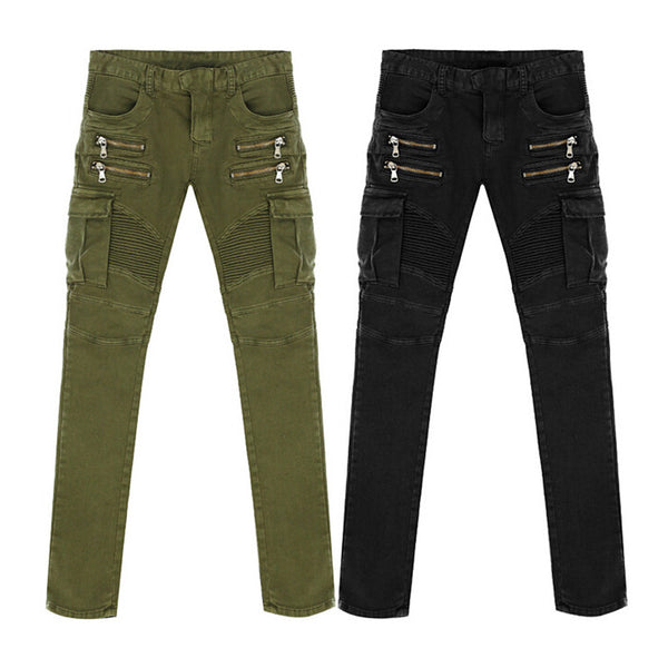 New Arrival High Quality Green Black Motorcycle Denim Biker jeans