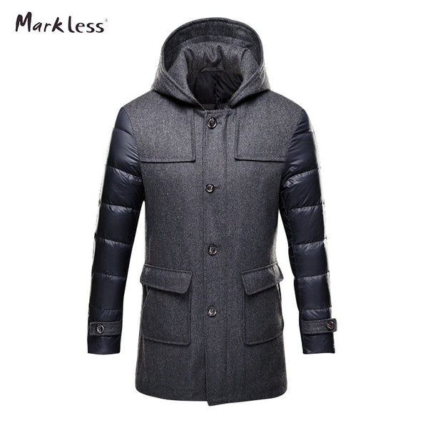 2017 Thick Long Down Park Men Brand Clothing Mens Casual Wool Spliced Hooded Down Jackets Man Fashion Winter Coat