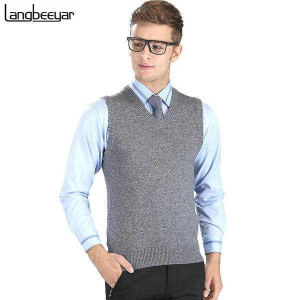 New Fashion Knitted Vest Winter Mens Sweater Sleeveless V-Neck Casual Pullovers