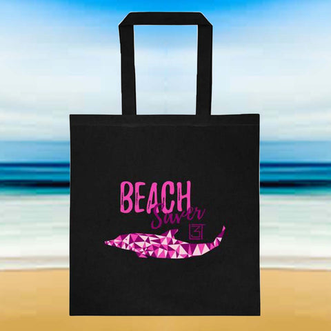 3LT Beach Saver Tote - black and pink