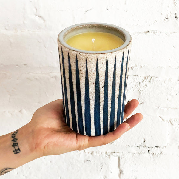 Candle: Indigo Stripes