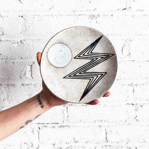 Dish Large: Lightning Bolt White