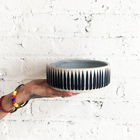 Dog Bowl: Indigo Stripes