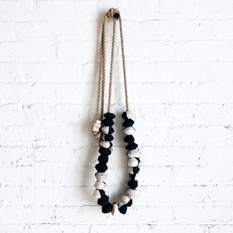 Garland27: Black & White Pared Beads