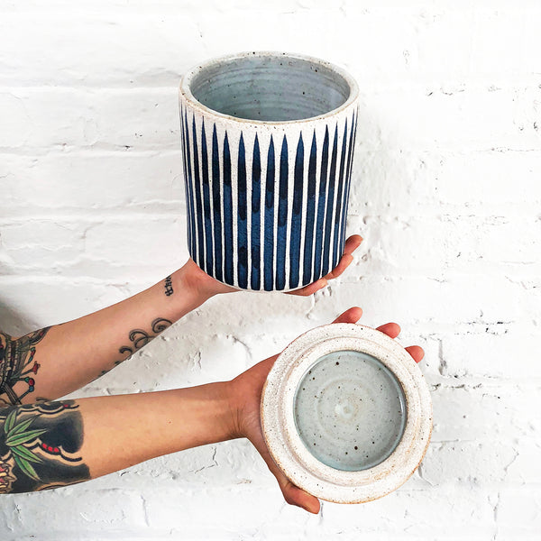 Jar: Indigo Stripes