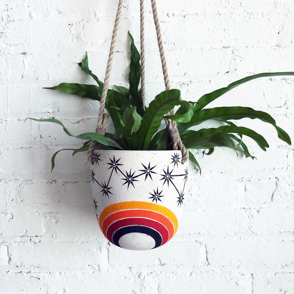 Hanging Planter: Rainbow Constellations