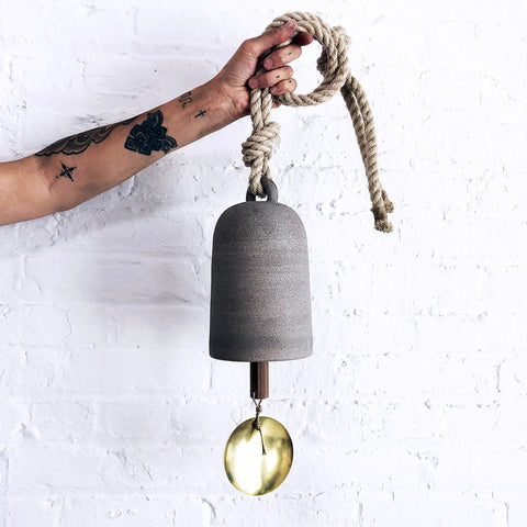 Thrown Bell Oval: Grey w/ Brass Disc