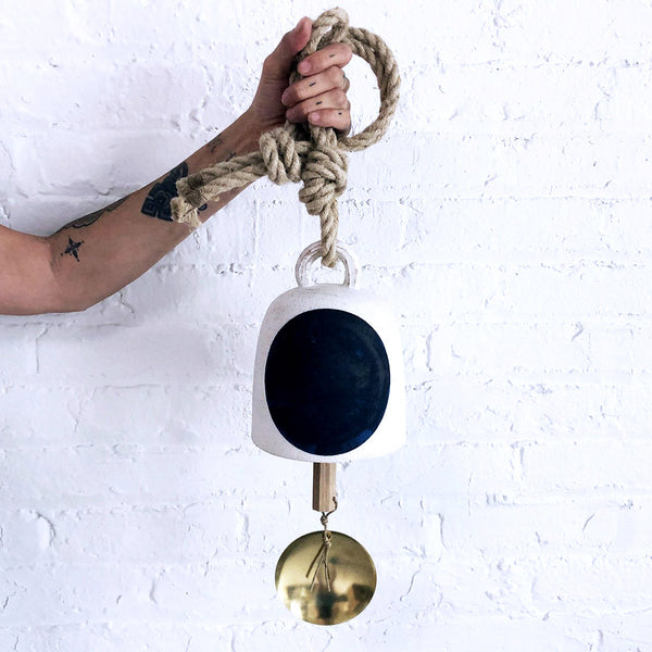 Thrown Bell Round: Full Moon Indigo with Brass Disc
