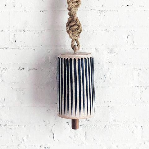 Thrown Bell Large Tall Twist: Indigo Stripes