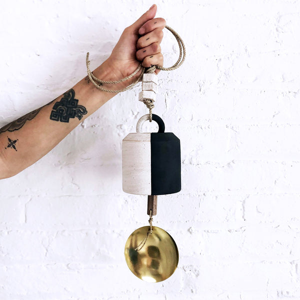 Thrown Bell Wide: Black & White with Brass Disc
