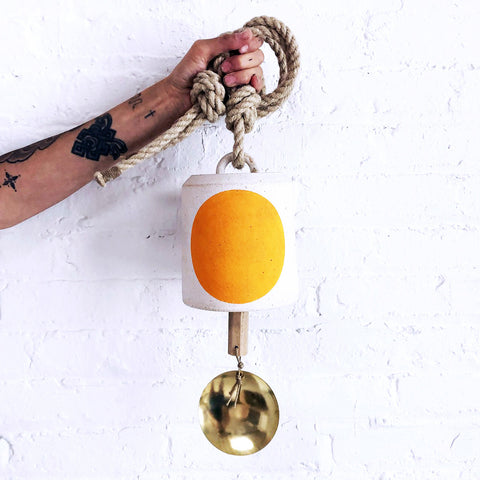 Thrown Bell Wide: Full Moon Marigold with Brass Disc