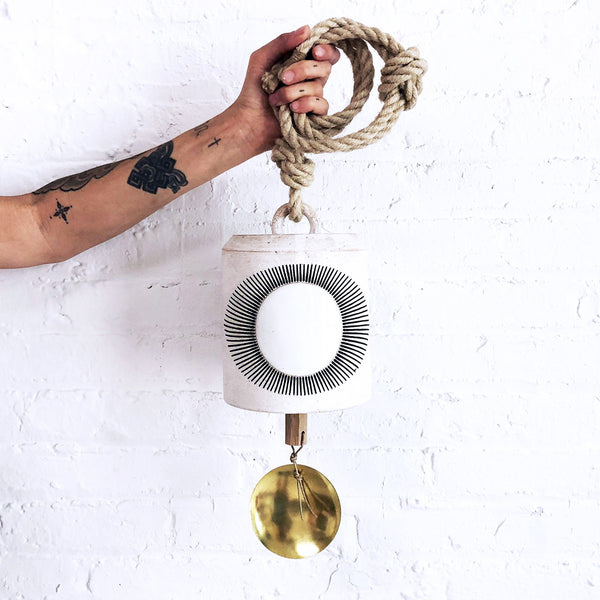 Thrown Bell Wide: New Eye White with Brass Disc