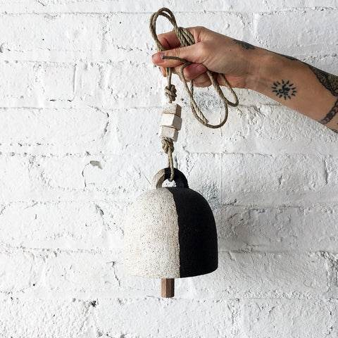 Small Round Carved Black and White Bell