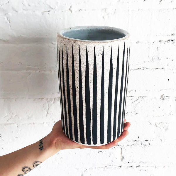 Vase Tall: Black Stripes
