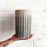 Vase Tall: Grey Stripes