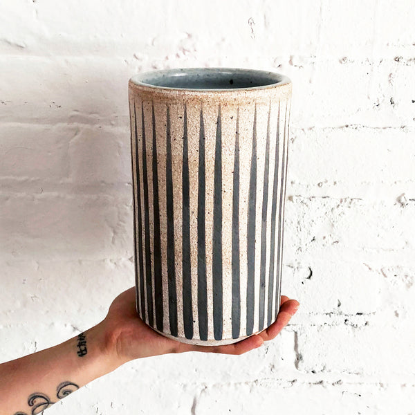 Vessel Tall: Grey Stripes