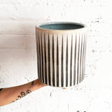 Vase Wide: Grey Stripes