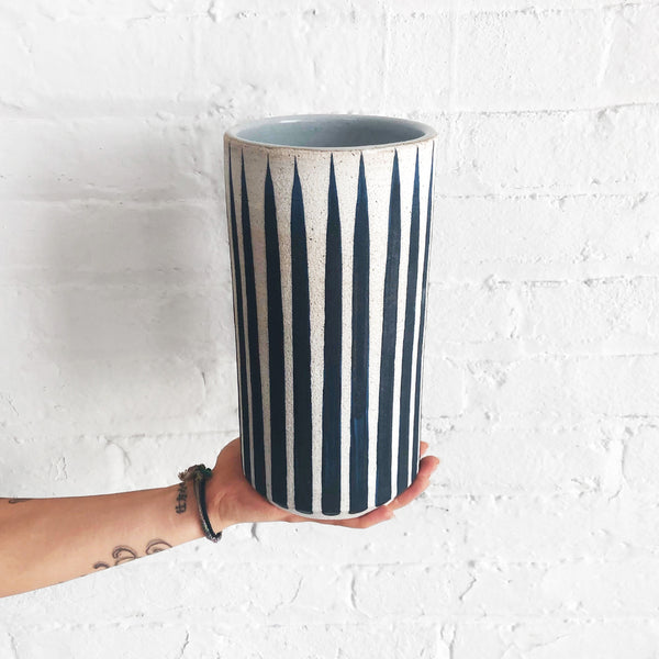 Vessel Tall Thin: Indigo Stripes