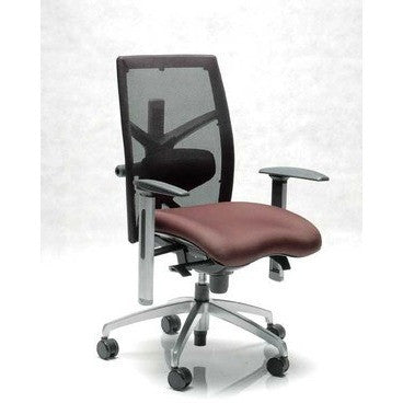 Image of Exact Ergonomic Mid Back Leather Chair In Black - Buy Online Now At Active Offices