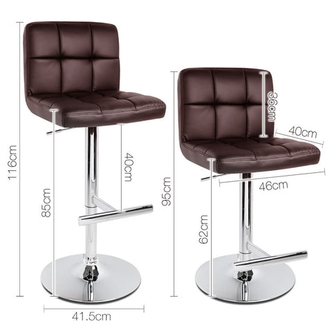 Artiss Set of 2 PU Leather Bar Stools - Chocolate - Buy Online Now At Active Offices