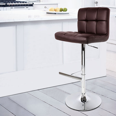 Image of Artiss Set of 2 PU Leather Bar Stools - Chocolate - Buy Online Now At Active Offices