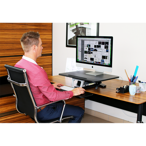Arise Compulator Height Adjustable Standing Desk Converter Riser + Anti Fatigue Mat - Buy Online Now At Active Offices