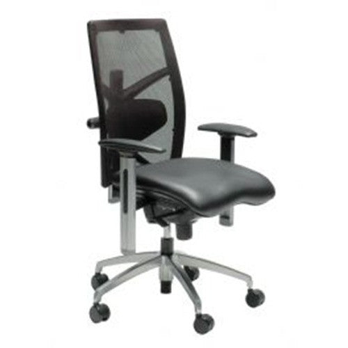 Exact Ergonomic Mid Back Leather Chair In Black - Buy Online Now At Active Offices