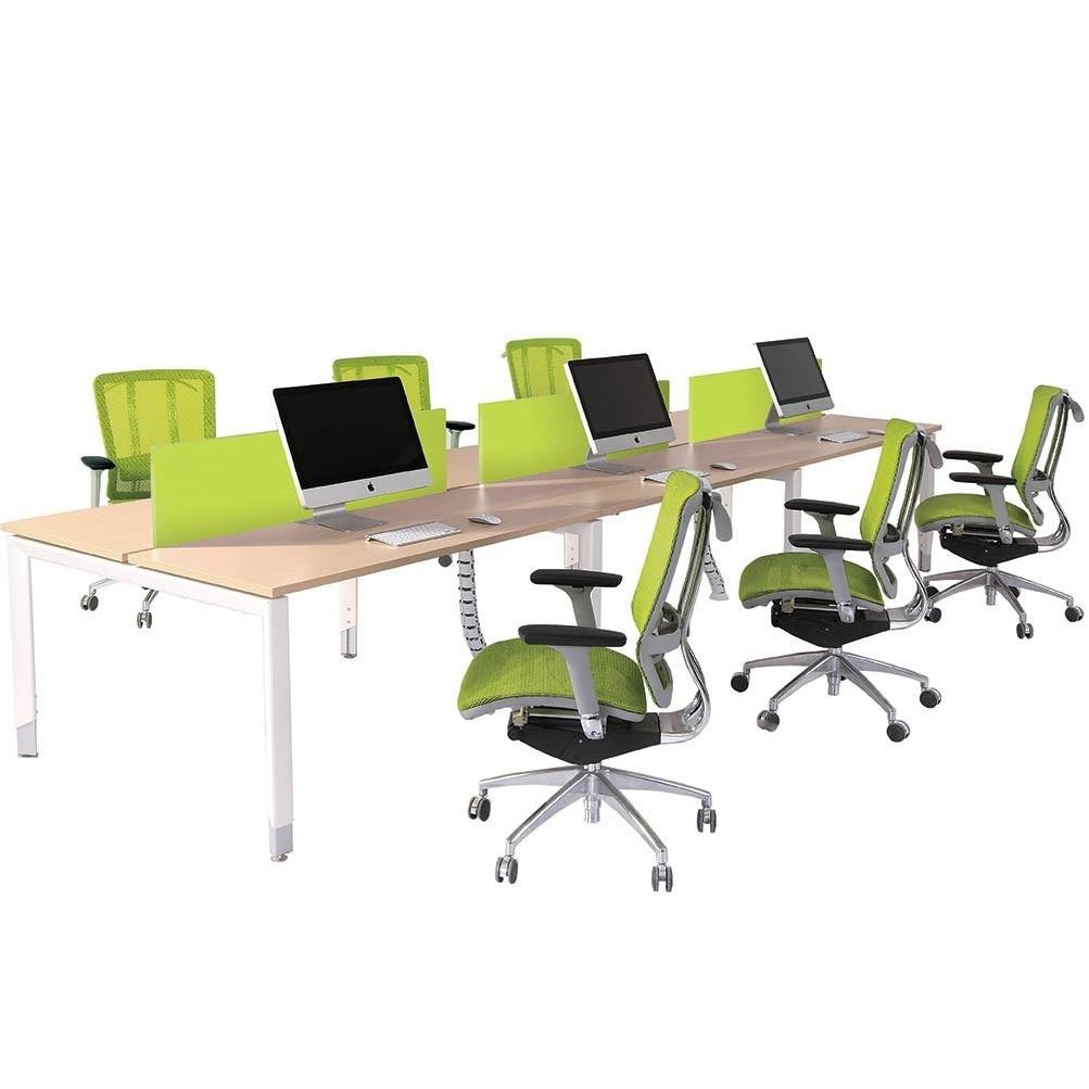Oblique Height Adjustable 6 Person Back to Back Office Working Desk - Buy Online Now At Active Offices