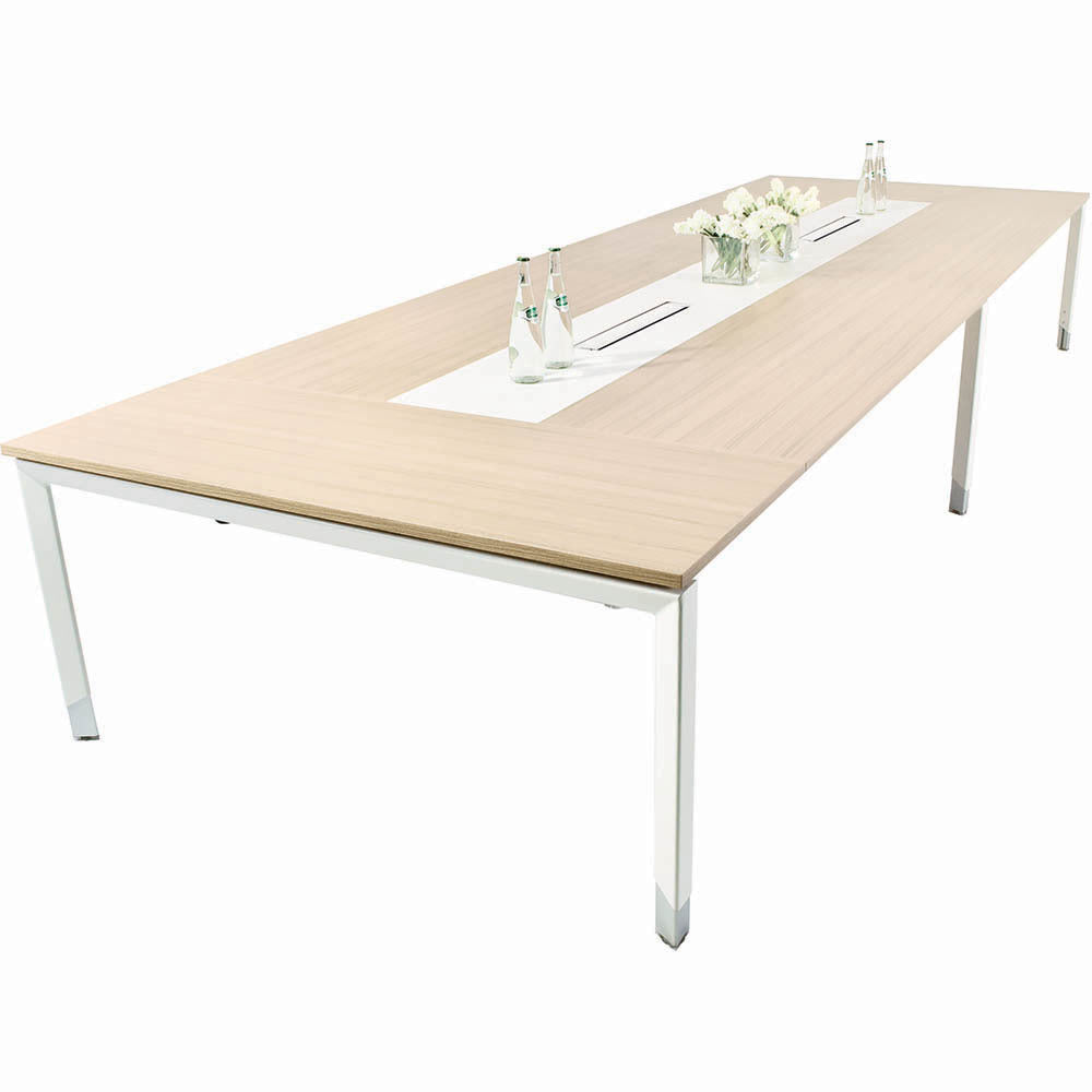Oblique Soft Maple Height Adjustable 8-10 Person Boardroom Table - Buy Online Now At Active Offices