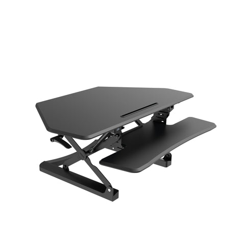 Image of Arise Corner Height Adjustable Standing Desk Converter Riser + Anti Fatigue Mat - Buy Online Now At Active Offices