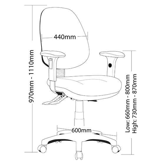 Ergonomic P350 Task Office Chair Level 6 AFRDI Tested - Buy Online Now At Active Offices