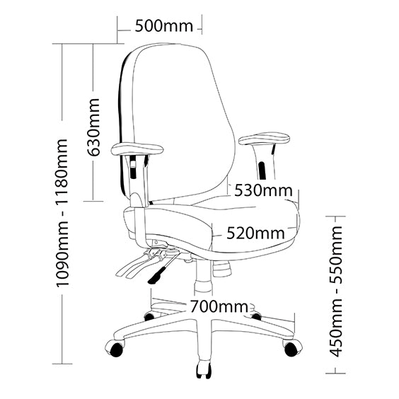 Ergonomic Rover Heavy Duty Multi Shifting Office Chair 140kg Weight Limit - Buy Online Now At Active Offices