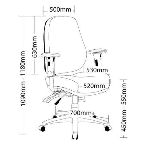Image of Ergonomic Rover Heavy Duty Multi Shifting Office Chair 140kg Weight Limit - Buy Online Now At Active Offices
