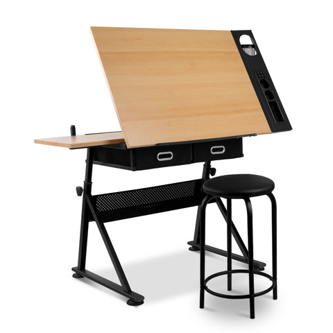 Wooden Tilting Drafting Drawing Table And Stool Set - Buy Online Now At Active Offices