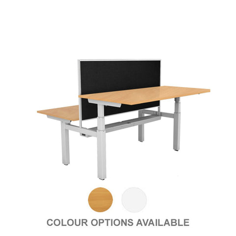 Image of Rapid Back to Back Double Electric Height Adjustable Standing Desks with Privacy Screen - Buy Online Now At Active Offices