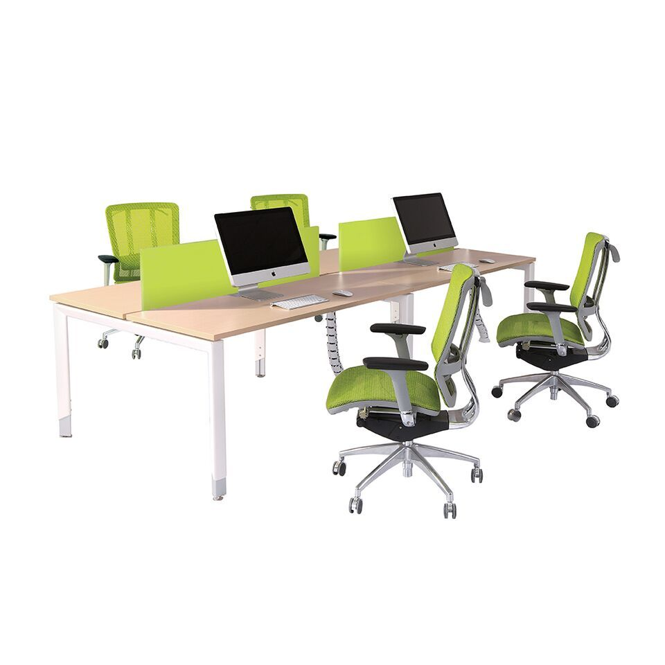 Oblique Height Adjustable 4 Person Back to Back Office Working Desk - Buy Online Now At Active Offices