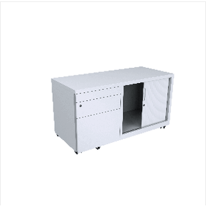 Mobile Caddy 2 Drawer & 1 File Drawer with Tambour cupboard White - Buy Online Now At Active Offices