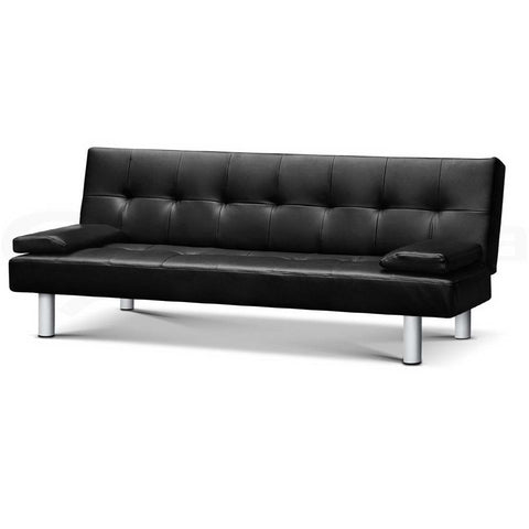 Image of 3 Seater PU Black Vegan Leather Reclining Lounge Chair - Buy Online Now At Active Offices