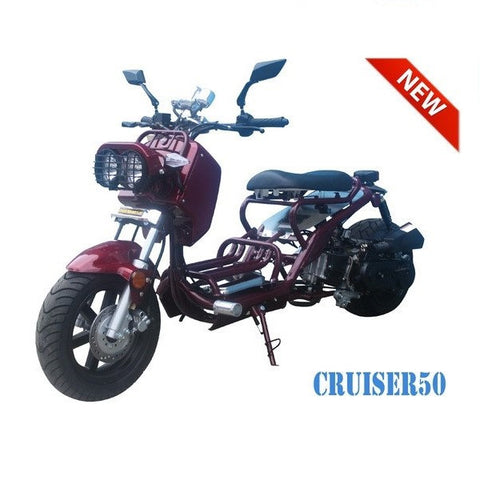 "Taotao Cruiser 50 50cc Moped Scooter Red! 12"" Wheels!"