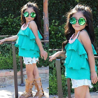 2017 2 PC Girl's Sleeveless Layered Cami Top + Denim Shorts Outfit! Free Shipping!!