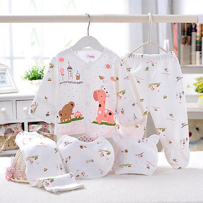 (5pcs/set) Cute Newborn Giraffe Infant Clothing Set! For Babies 0-3 Months! Free Shipping!!