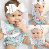 Newborn Baby Girl Lace Floral Jumpsuit Outfits for Ages 0-24 Months