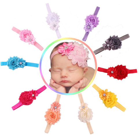 10pcs Baby Girl Flower Headband With Rhinestone