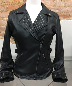 Ladies Studded Lambskin Jacket by UNIK 6828