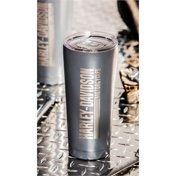 Harley Davidson Double Wall Stainless Steel Etched Tall Tumbler